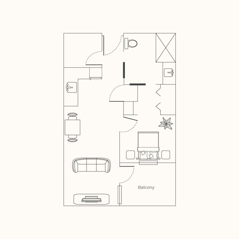 Plan D 1 Bedroom