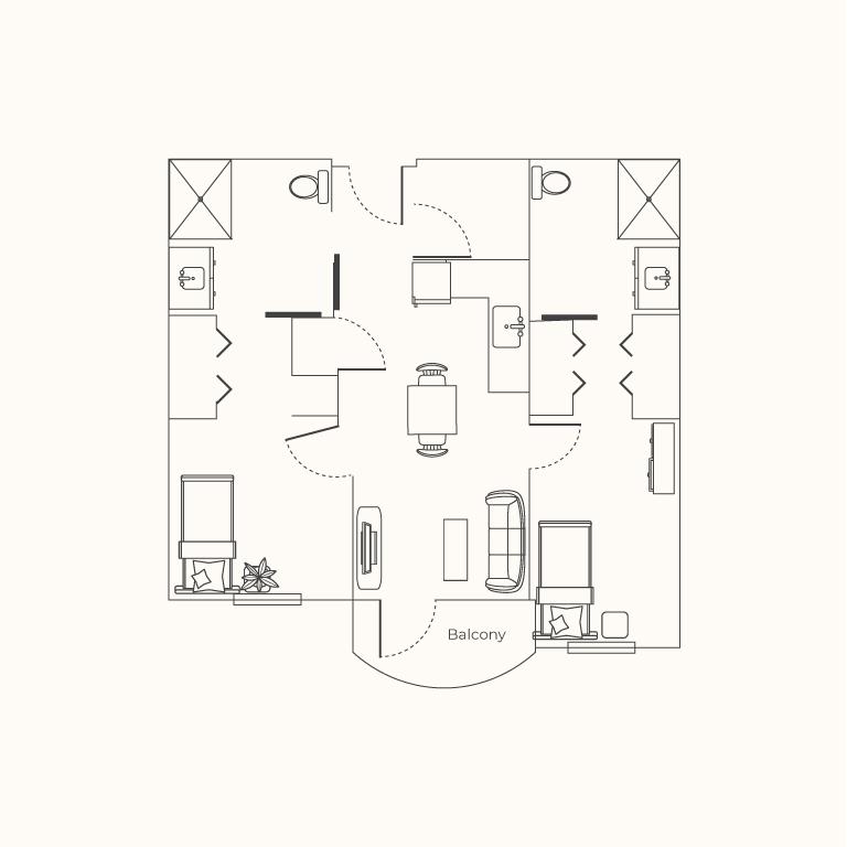 Plan F 2 Bedroom